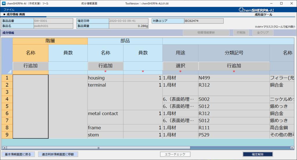 成分情報画面セルの拡大